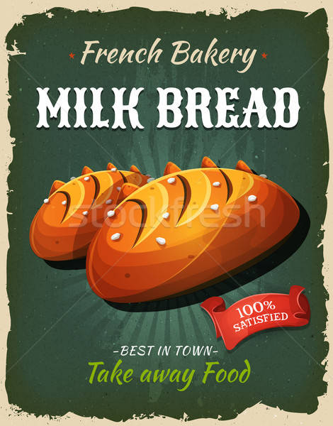 Retro Milk Bread Poster Stock photo © benchart