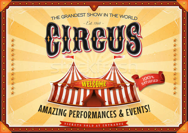 Vintage Grand Circus Poster With Marquee Stock photo © benchart