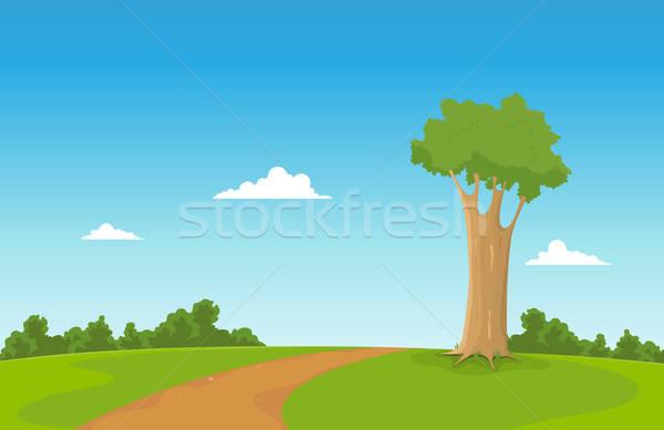 Primavera campo illustrazione cartoon albero Foto d'archivio © benchart