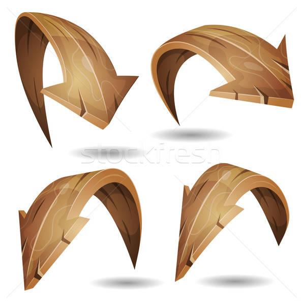 Cartoon hout pijlen borden ingesteld illustratie Stockfoto © benchart