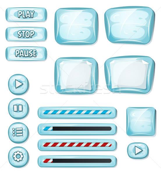 Karikatür buz gibi elemanları ui oyun örnek Stok fotoğraf © benchart