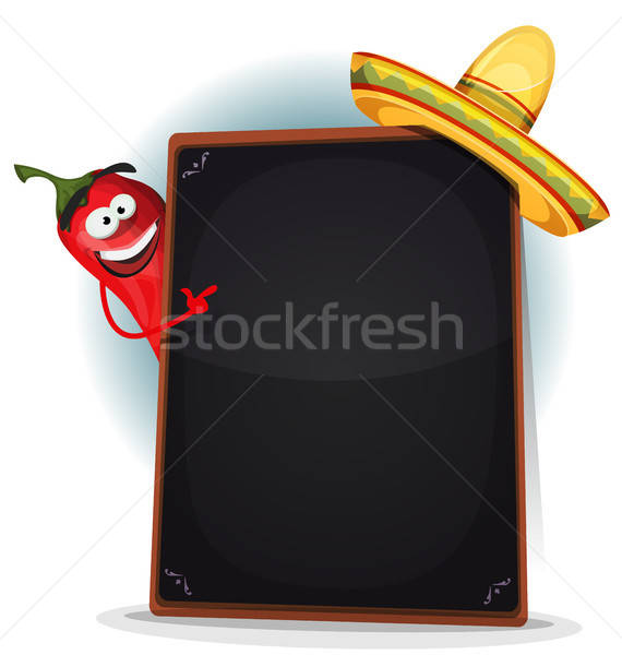 Tex Mex Menu With Chili Pepper And Sombrero Stock photo © benchart
