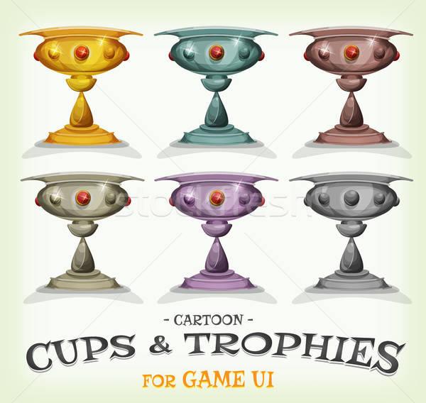 Nyertesek trófeák csészék játék ui illusztráció Stock fotó © benchart