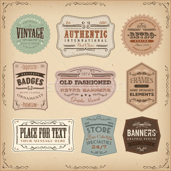 Vintage And Old-Fashioned Labels Ans Signs Stock photo © benchart