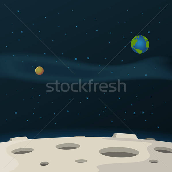 Lune surface illustration cartoon galaxie laiteux Photo stock © benchart