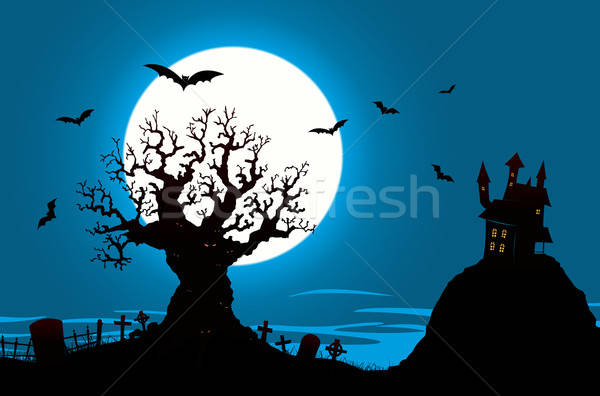 Halloween Poster - Haunted House And Evil Tree Stock photo © benchart