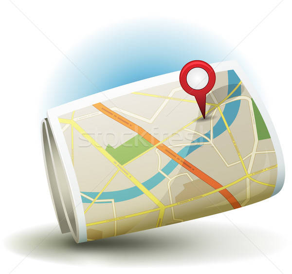 Cartoon City Map Icon With GPS Pin Stock photo © benchart