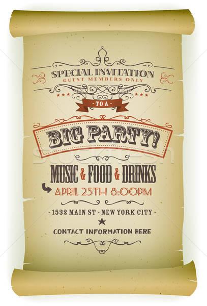 Retro Party Invitation On Parchment Stock photo © benchart