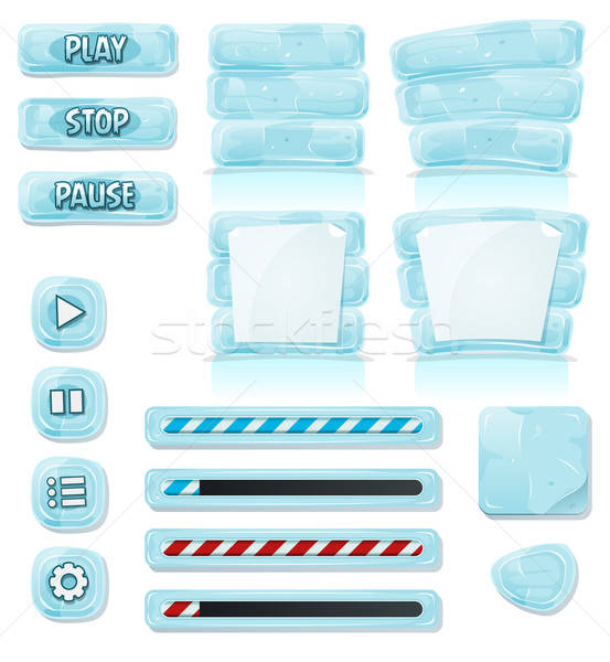 Cartoon Ice And Glass Icons For Ui Game Stock photo © benchart