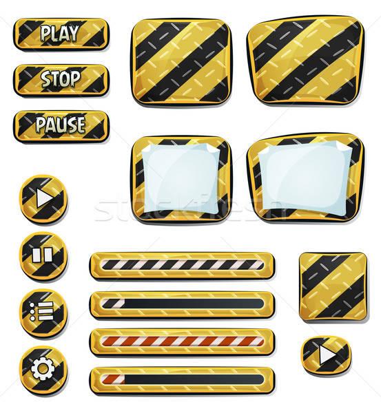 Figyelmeztetés ikonok elemek ui játék illusztráció Stock fotó © benchart