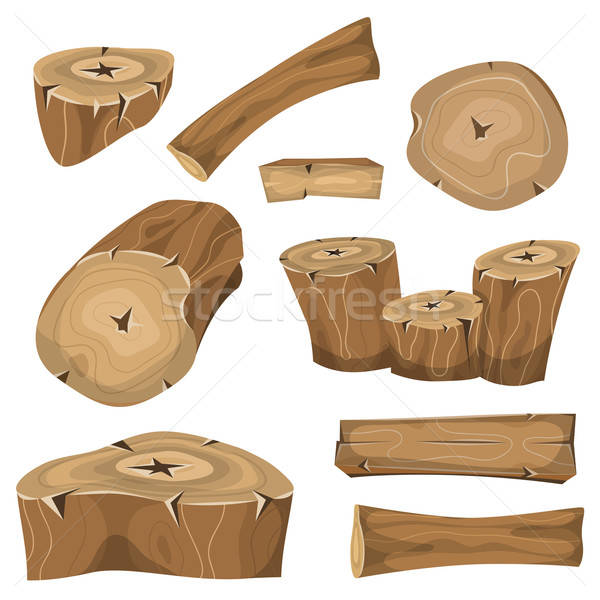 Wood Logs, Trunks And Planks Set Stock photo © benchart