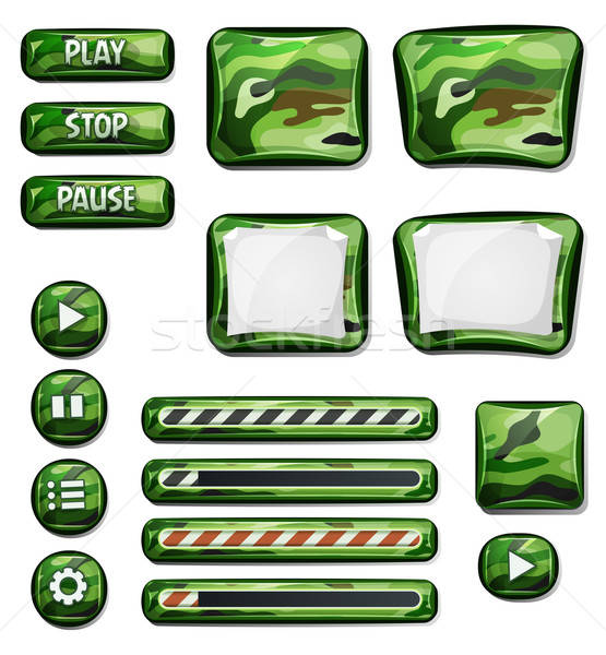 Military Camo Icons Elements For Ui Game Stock photo © benchart