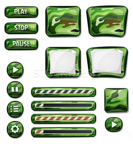 Militar iconos elementos ui juego ilustración Foto stock © benchart
