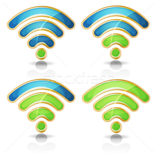 Wifi Icons Set For Tablet PC Ui Game Stock photo © benchart