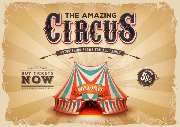 Vintage Old Circus Poster With Grunge Texture Stock photo © benchart