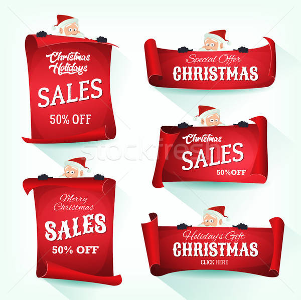 Santa Holding Christmas Parchment Scroll Stock photo © benchart