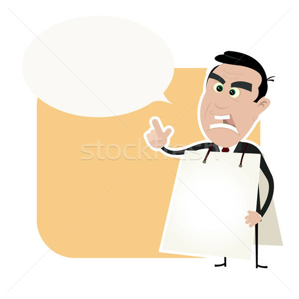 Stock photo: Angry White Business Man Holding A Sandwich Board