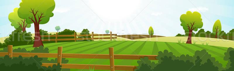 Mezőgazdaság gazdálkodás nyár tájkép illusztráció tavasz Stock fotó © benchart