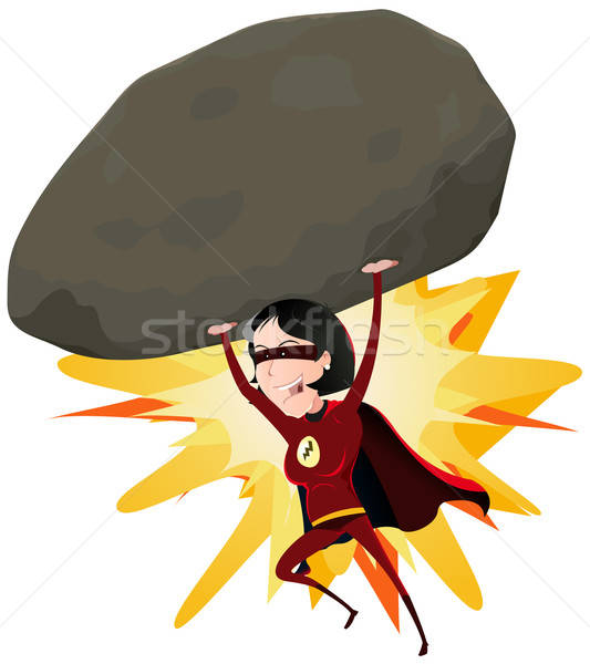 Comic Super Girl Throwing Big Rock Stock photo © benchart