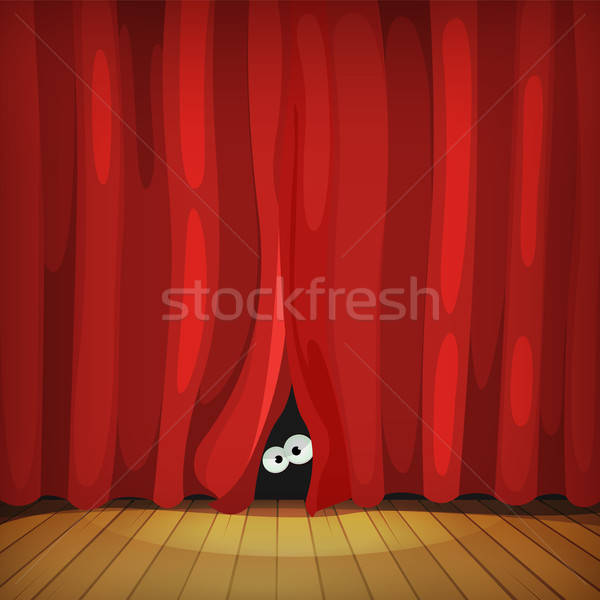 глазах за красный шторы древесины этап Сток-фото © benchart