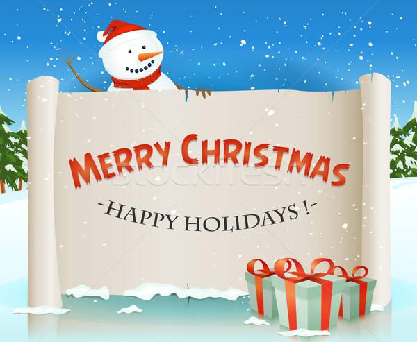 サンタクロース 雪だるま 後ろ クリスマス 羊皮紙 実例 ストックフォト © benchart