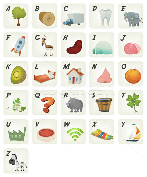 Cartoon French ABC Cliparts Poster Stock photo © benchart