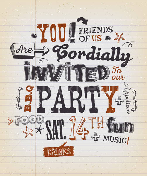 Party Invitation Poster On School Paper Stock photo © benchart