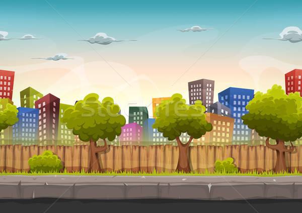 ストックフォト: シームレス · 通り · 市 · 風景 · ゲーム · ui