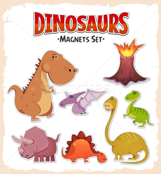 Dinosaures autocollants illustration cartoon Photo stock © benchart