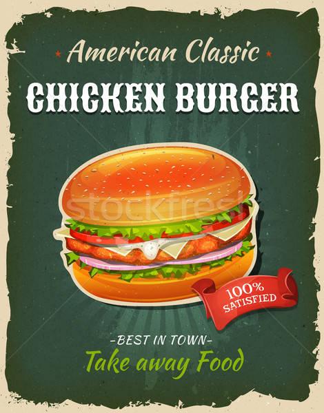 Retro Fast Food Chicken burger Poster Stock photo © benchart