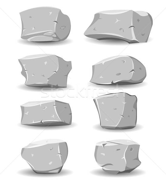 Boulders And Rocks Set Stock photo © benchart