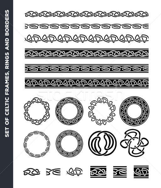 Celtic patrones anillos establecer ilustración Foto stock © benchart