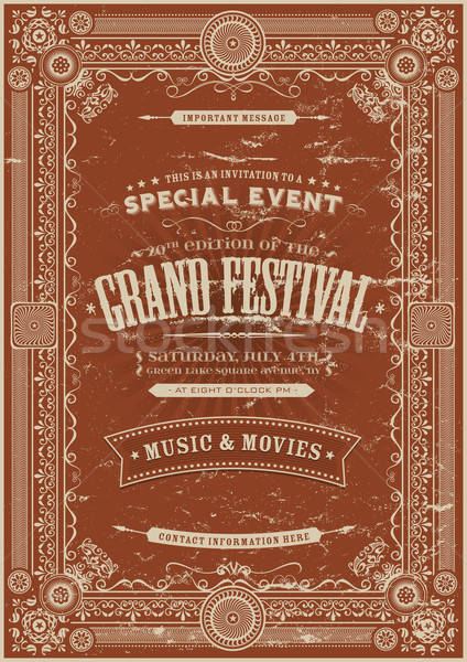 Vintage rétro festival affiche illustration floral Photo stock © benchart