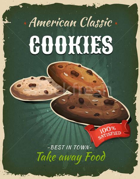 Stockfoto: Retro · fast · food · cookies · poster · illustratie · ontwerp