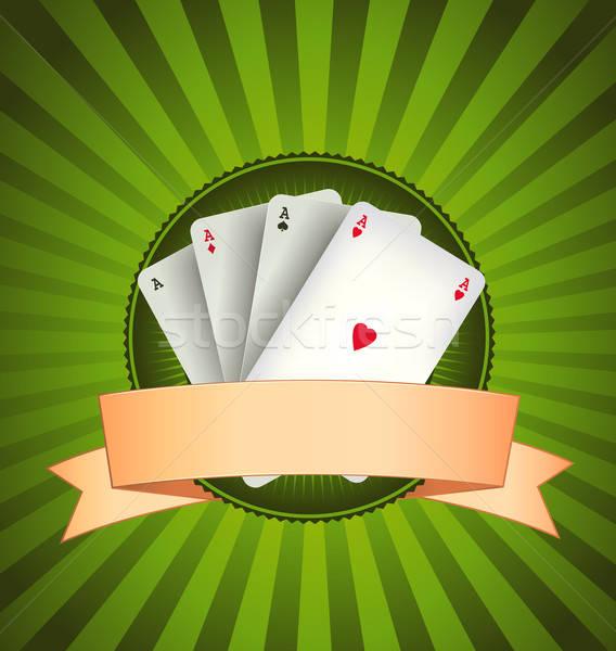 Casino poker bannière illustration vintage Photo stock © benchart
