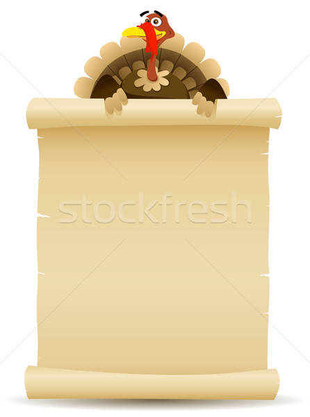 Thanksgiving Turkey Holding Parchment Scroll Menu Stock photo © benchart