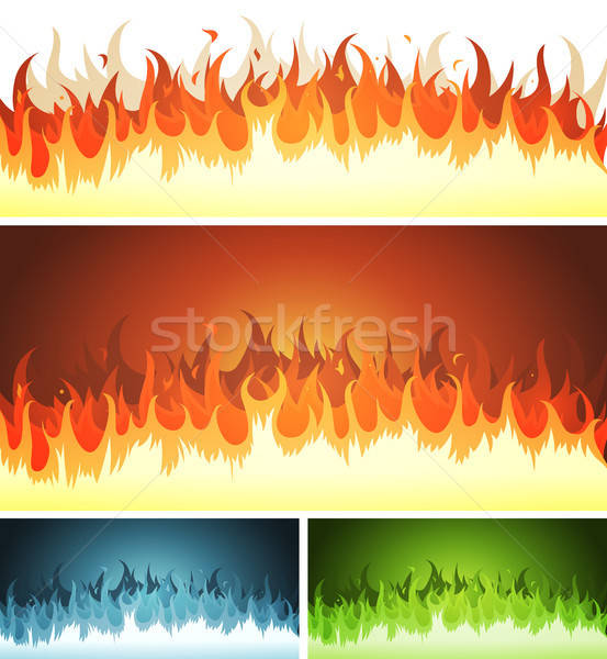 Blaze, Burning Fire And Flames Set Stock photo © benchart