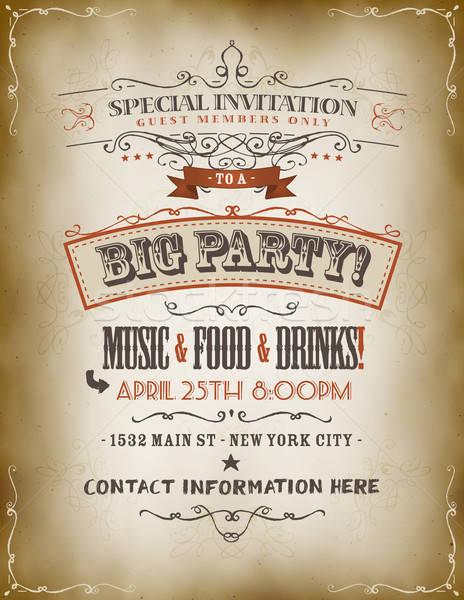 Vintage Big Party Invitation Poster Stock photo © benchart