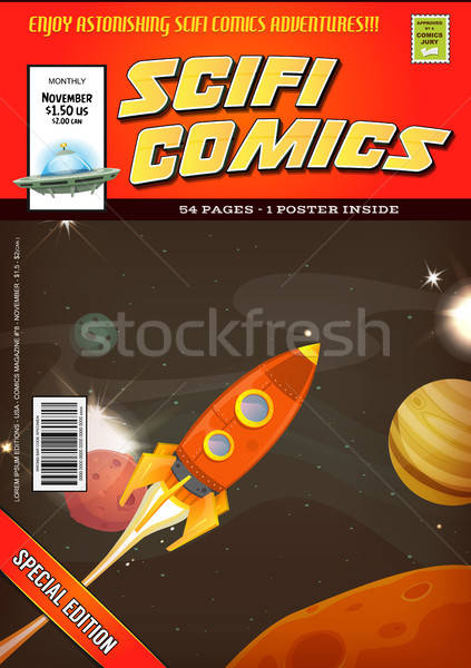Stock photo: Comic Scifi Book Cover Template