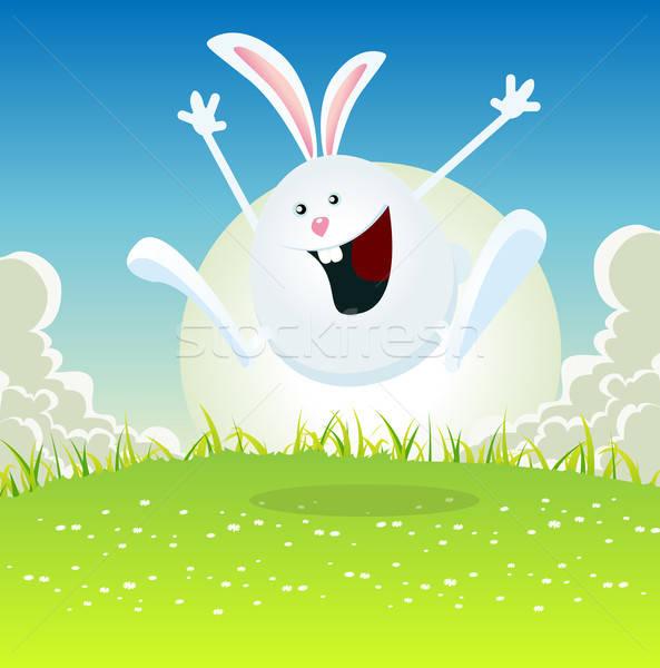 Rajz húsvéti nyuszi illusztráció kellemes húsvétot nyuszi ugrik Stock fotó © benchart
