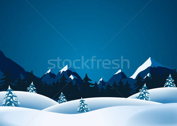 Winter illustratie landschap bergen pine Stockfoto © benchart