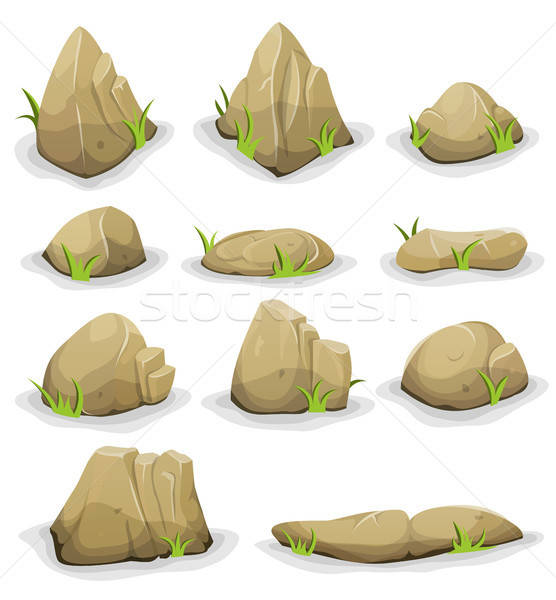 Rocks And Boulders With Grass Leaves Set Stock photo © benchart