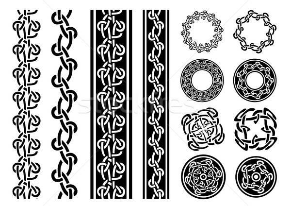 Celtic Borders, Patterns And Rings Set Stock photo © benchart