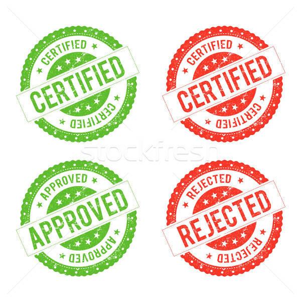 Selar certidão ilustração conjunto verde vermelho Foto stock © benchart