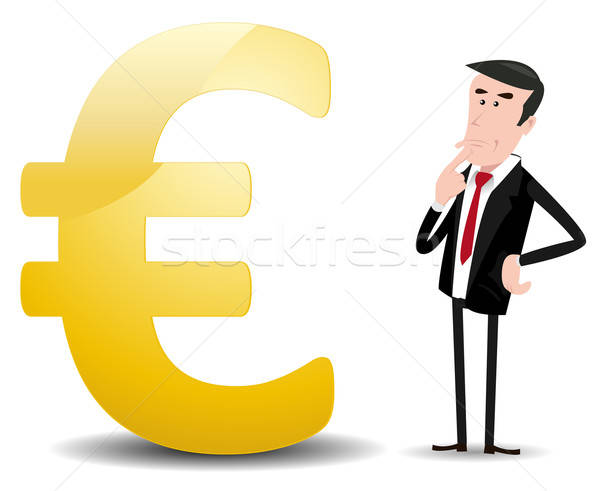 Toekomst euro valuta illustratie cartoon zakenman Stockfoto © benchart