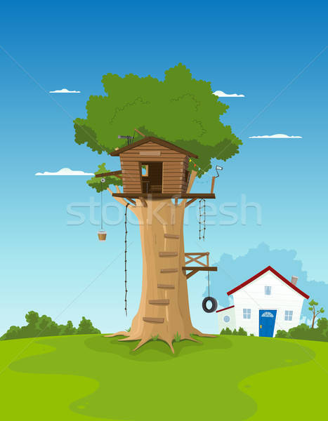 Tree House In Garden Backyard Stock photo © benchart