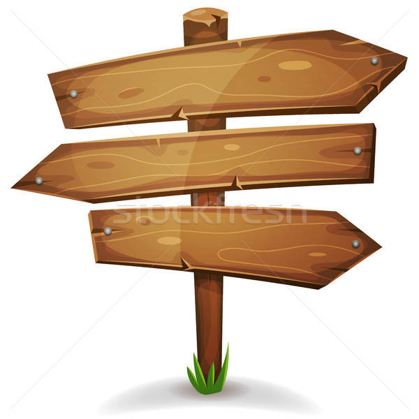 Wood Stake With Direction Signs Arrows Stock photo © benchart
