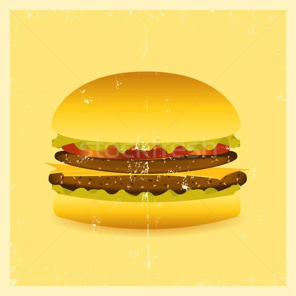 Grunge hamburger illustrazione poster segno Foto d'archivio © benchart