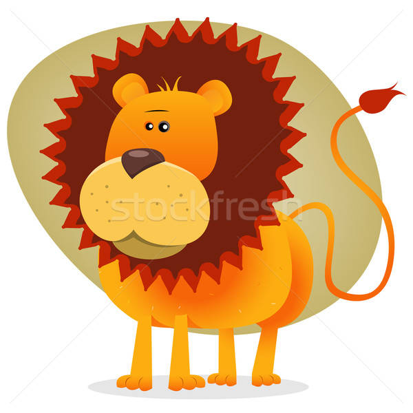 Cute Cartoon Lion King Stock photo © benchart