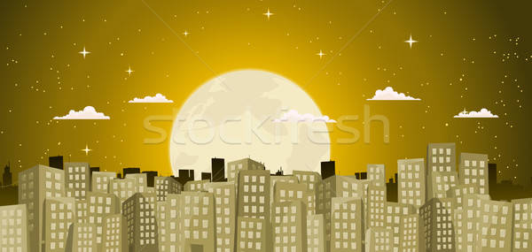 Buildings Background In A Golden Moonlight Stock photo © benchart